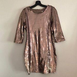 Taupe sequin mini dress